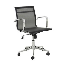 Cadeira Office Baixa Brendan em Tela Mesh C/Base Giratória - Preto