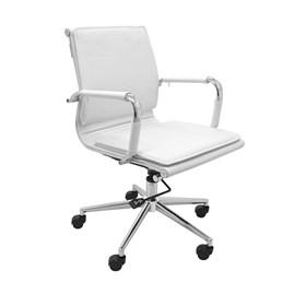Cadeira Office Baixa Galícia C/Base Cromada - Branco