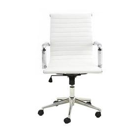 Cadeira Office Baixa Hamilton C/Base Cromada - Branco