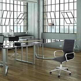 Cadeira Office Baixa Hamilton C/Base Cromada - Preto