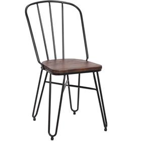 Cadeira Roma 81cm Preta em Metal e Assento de Madeira