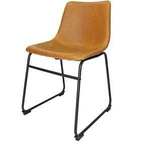 Cadeira Rústica Vintage em Metal e Couro Ecológico