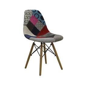 Cadeira S/Braço Paris Patchwork C/Base em Madeira Maciça