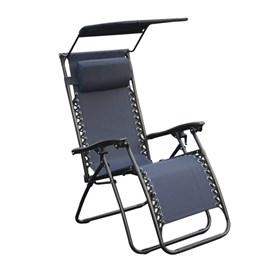Cadeira Topplin Reclinável C/Tapa Sol em Aço Carbono - Azul Marinho