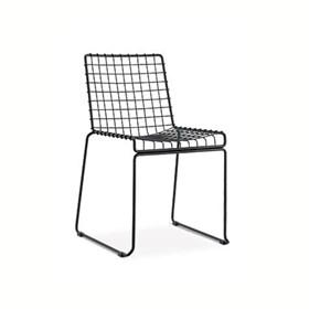 Cadeira Une Preta Quadrada de Aço Tratado e Pintado