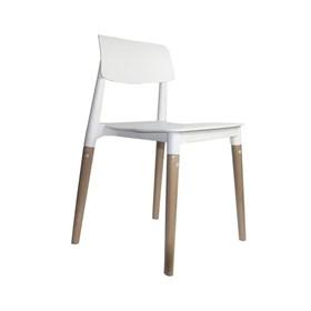 Cadeira Weisz em Polipropileno C/Base de Madeira - Branco