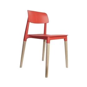 Cadeira Weisz em Polipropileno C/Base de Madeira - Vermelho
