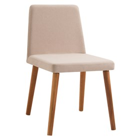 Cadeira Wheezy C/Pés em Madeira Maciça - Bege