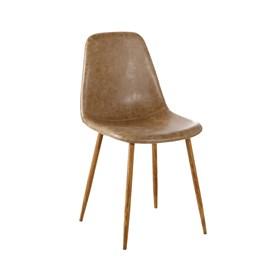 Cadeira Willock em Couro Sintético C/Base Nogueira - Marrom