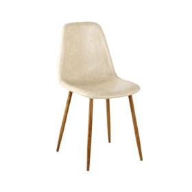 Cadeira Willock em Couro Sintético C/Base Nogueira - Peróla