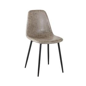 Cadeira Willock em Couro Sintético C/Base Preto - Cinza