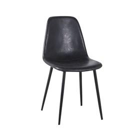 Cadeira Willock em Couro Sintético C/Base Preto - Preto