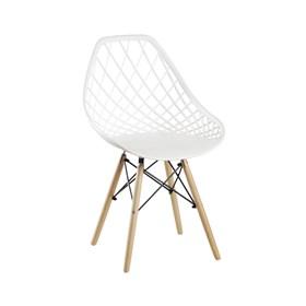 Cadeira Winkleman em Polipropileno C/Base de Madeira - Branco