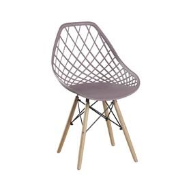 Cadeira Winkleman em Polipropileno C/Base de Madeira - Camurça