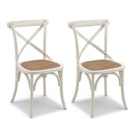 Conjunto de 2 Cadeiras Juárez em Madeira Maciça - Branca