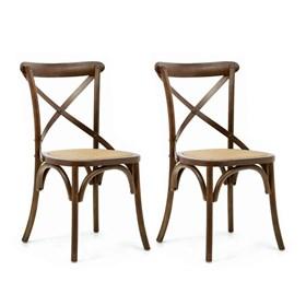 Conjunto de 2 Cadeiras Juárez em Madeira Maciça - Canela