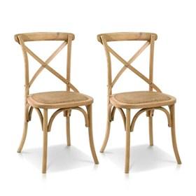 Conjunto de 2 Cadeiras Juárez em Madeira Maciça - OAK Natural
