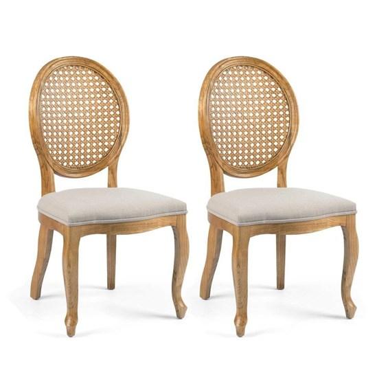 Conjunto de 2 Cadeiras Lustef em Madeira Maciça - Natural