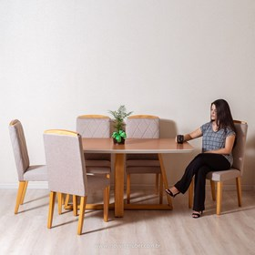 Conjunto de Mesa Bennet Cinamomo 160cm com 6 Cadeiras Daisy