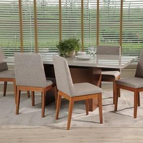 Conjunto de Mesa Cecil com 6 Cadeiras Tai 1.8cm de Madeira e Tecido