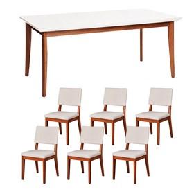 Conjunto de Mesa Julien 160cm Branca com Cadeiras Ella