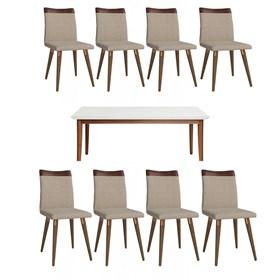 Conjunto de Mesa Julien 180cm Branca com 8 Cadeiras Becca Natural
