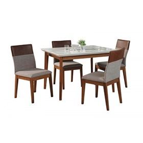 Conjunto de Mesa Julien Branca 115cm com 4 Cadeiras Runa Alpha 80