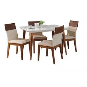 Conjunto de Mesa Julien Branca 115cm com 4 Cadeiras Runa Linked 02