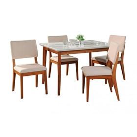 Conjunto de Mesa Julien Branca com 4 Cadeiras Ella 1.15cm de Madeira Maciça