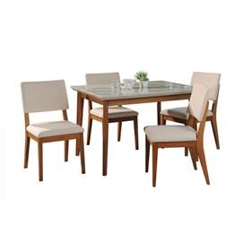 Conjunto de Mesa Julien com 4 Cadeiras Ella 1.15cm de Madeira Maciça