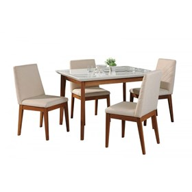 Conjunto de Mesa Julien com 4 Cadeiras Tai 115cm Branco