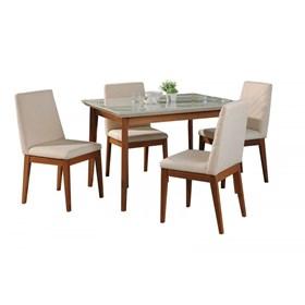 Conjunto de Mesa Julien com 4 Cadeiras Tai 115cm Off White