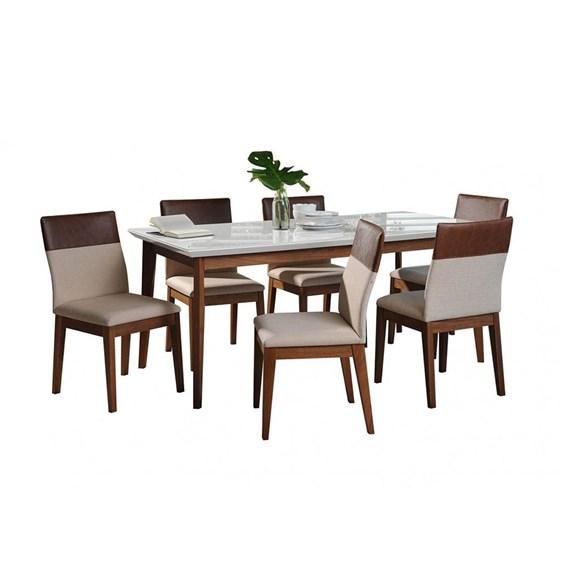 Conjunto de Mesa Julien com 6 Cadeiras Runa 1.8cm Branca