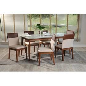 Conjunto de Mesa Julien com 6 Cadeiras Runa 1.8cm Off White