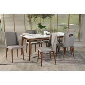 Conjunto de Mesa Julien com 6 Cadeiras Thyra 1.8cm Branco