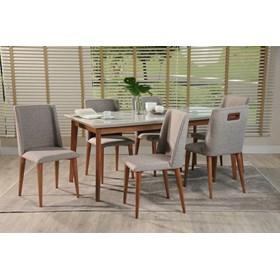 Conjunto de Mesa Julien com 6 Cadeiras Thyra 1.8cm Off White