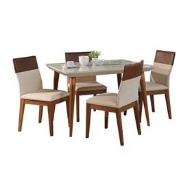 Conjunto de Mesa Julien Off White 115cm com 4 Cadeiras Runa Linked 02