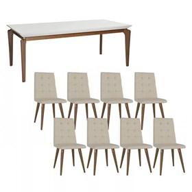 Conjunto de Mesa Lauren Branca 210cm C/8 Cadeiras Olga Natural