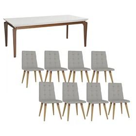 Conjunto de Mesa Lauren Branca 210cm Com 8 Cadeiras Olga Cinamomo