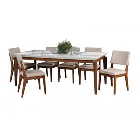 Conjunto de Mesa Lauren com 6 Cadeiras Ella 2.1cm Branco