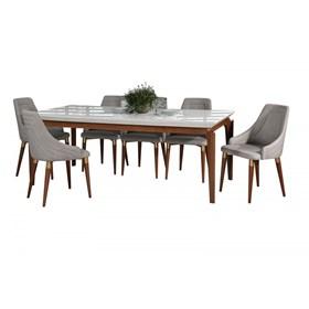 Conjunto de Mesa Lauren com 6 Cadeiras Evelyn 2.1cm Branco