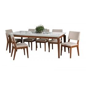 Conjunto de Mesa Lauren com 8 Cadeiras Ella 2.1cm Branco