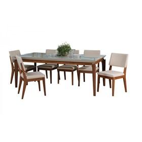 Conjunto de Mesa Lauren com 8 Cadeiras Ella 2.1cm Off White