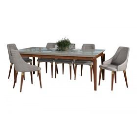 Conjunto de Mesa Lauren com 8 Cadeiras Evelyn 2.1cm Off White