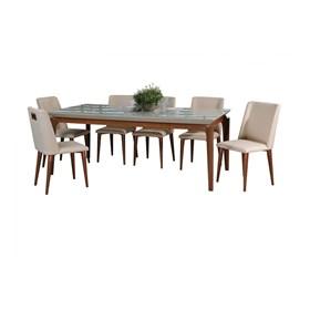 Conjunto de Mesa Lauren com 8 Cadeiras Thyra 2.1cm Off White