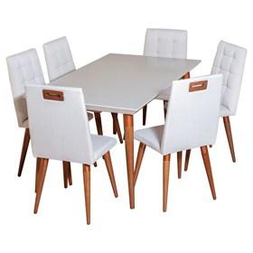 Conjunto de Mesa Liv 160cm com 6 Cadeiras Olga