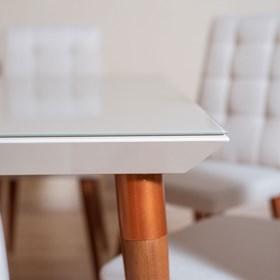Conjunto de Mesa Liv com 4 Cadeiras 115cm Off White