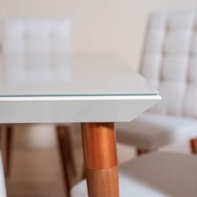 Conjunto de Mesa Liv com 6 Cadeiras Thyra 1.6cm Branco