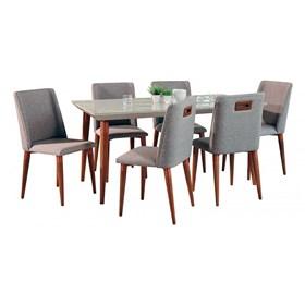 Conjunto de Mesa Liv com 6 Cadeiras Thyra 1.6cm Off White