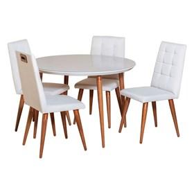 Conjunto de Mesa Louise 115cm com 4 Cadeiras Olga